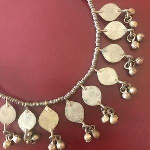 Vintage Jewelry - Vintage Indian silver green stone jingle necklace